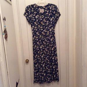 NION De LENCLOS LONG FLOWER PRINT DRESS SIZE 8